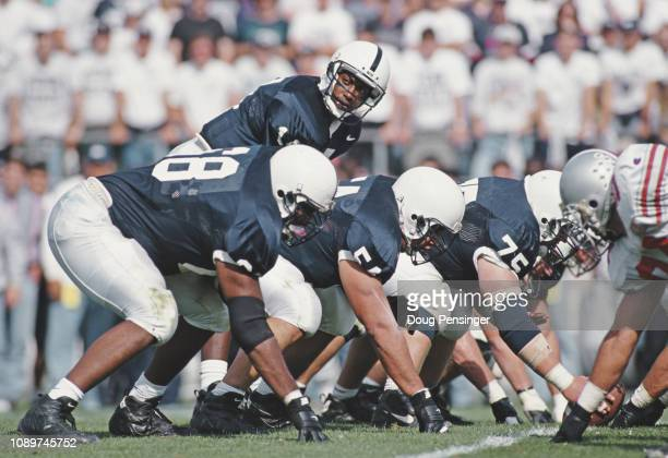 Wally Richardson Quarterback for the Penn State Nittany Lions calls the play during the NCAA Big Ten Conference college football game against the...