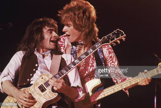 Wally Stocker and Rick Phillips of The Babys during The Babys in Concert at Alex Cooley's Capri Ballroom in Atlanta March 16 1979 at Alex Cooley's...