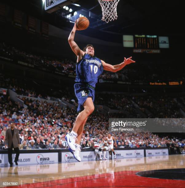Wally Szczerbiak of the Minnesota Timberwolves drives to the basket during the game against the Portland Trail Blazers at The Rose Garden on February...