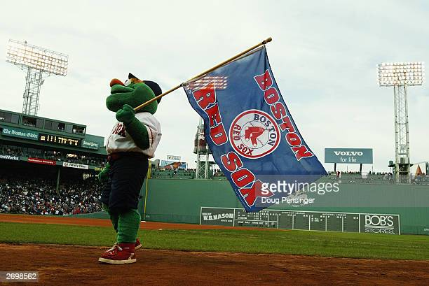 Wally the Green Monster the Boston Red Sox mascot entertains the fans during Game five of the 2003 American League Championship Series against the...