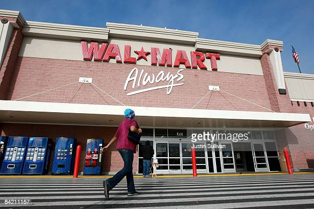 WalMart customer enters a store January 8 2009 in Oakland California WalMart has posted weaker than expected same store sales for December and has...