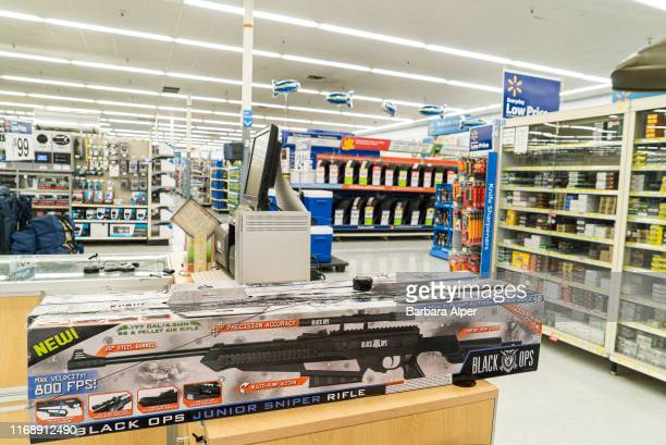 Walmart in Fort Worth sells ammo and guns: a Black Ops Junior Sniper Rifle is one of the guns available for purchase, Texas, US, 26th June 2015.