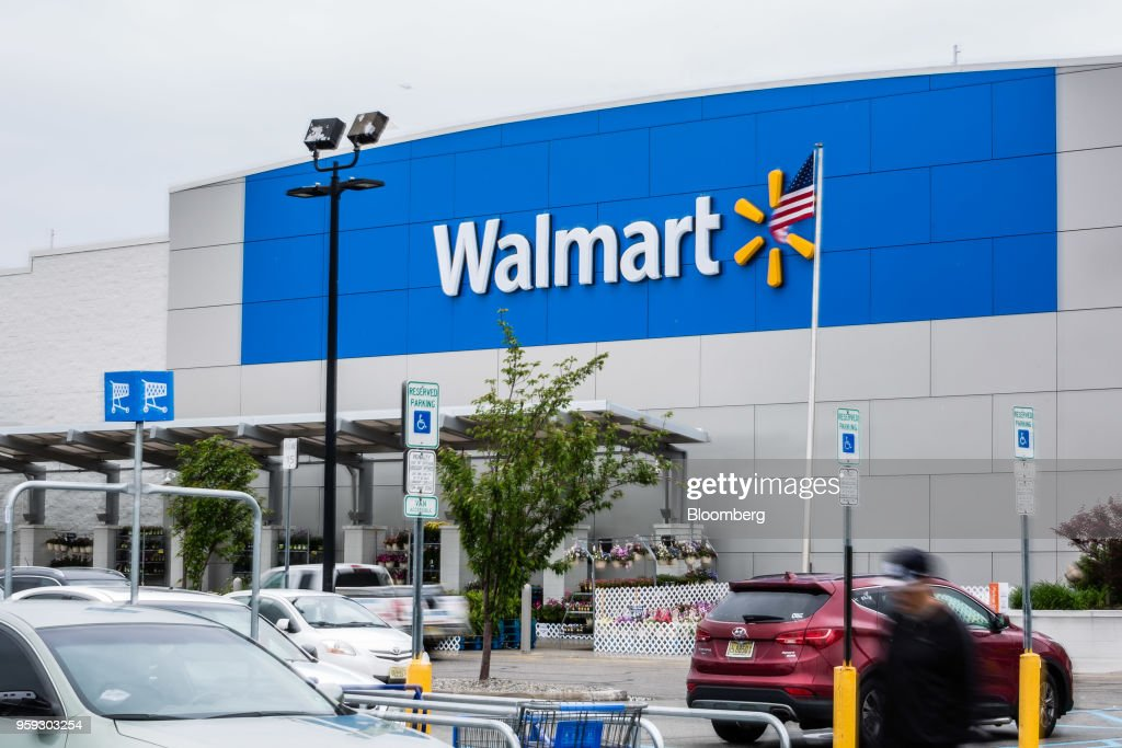 Walmart Inc. signage is displayed outside a store in Secaucus, New Jersey, U.S., on Wednesday, May 16, 2018. Walmart is scheduled to release earnings figures on May 17. Photographer: Timothy Fadek/Bloomberg via Getty Images