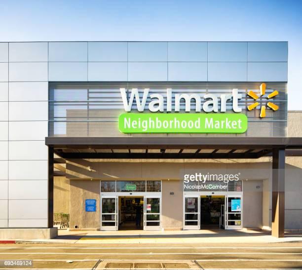 walmart neighborhood market store entrance facade with sign - fachada supermercado imagens e fotografias de stock