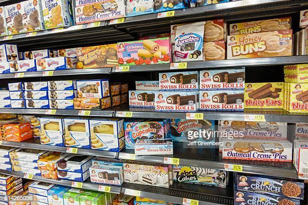 Walmart shelves selling junk food
