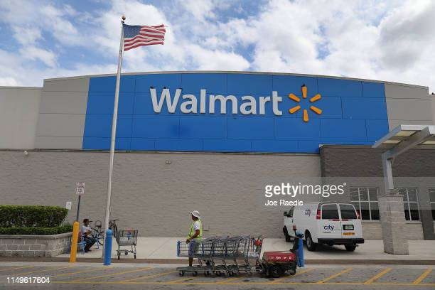 Walmart store is seen on May 16, 2019 in Miami, Florida. As Walmart's first-quarter revenue showed that profit jumped they also announced that the...