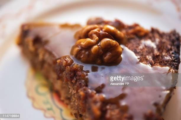 Walnut and caramel cake
