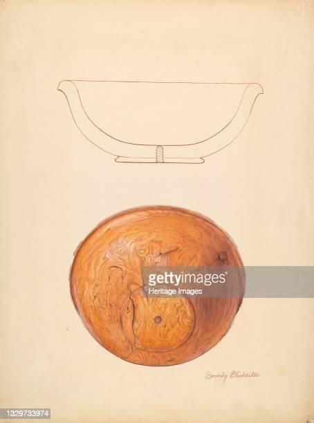 Walnut Burl Bowl, circa 1936. Artist Beverly Chichester.