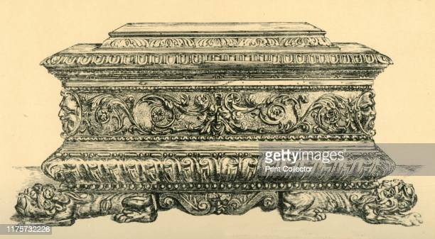 Walnut chest Etching of a walnut wood chest resting on carved lions It was made before 1856 From The South Kensington Museum a book of engraved...
