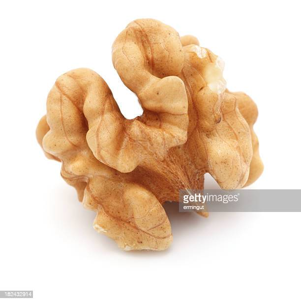 walnut macro isolated on white - walnut stock pictures, royalty-free photos & images