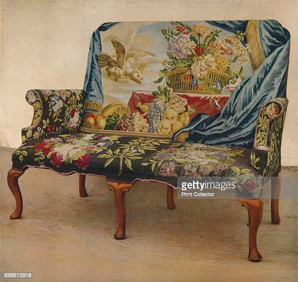 Walnut Settee with Soho Tapestry c1730' From Exhibition of English Decorative Art at Lansdowne House [The Collector London 1929] Artist Unknown