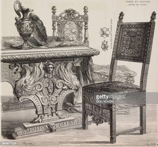 Walnut table ebony and leather chairs France 16th17th century engraving from L'Art pour Tous Encyclopedie de l'art industriel et decoratif by Emile...