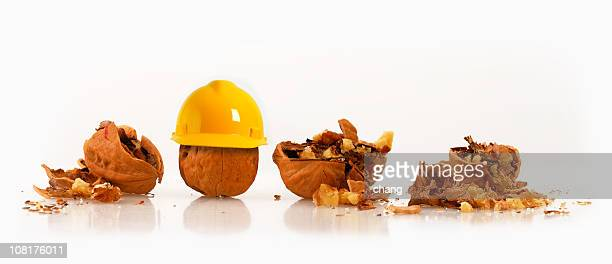 walnut wearing hard hat beside other crushed nuts - nut food stock pictures, royalty-free photos & images