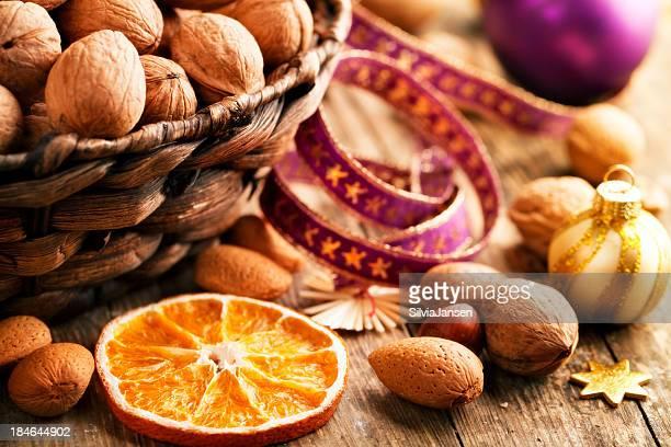 Nueces frutas secas refrigerio saludable de invierno