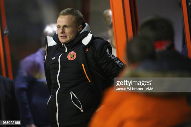 Walsall manager Dean Keates during the Sky Bet League One match between Wigan Athletic and Walsall at Banks' Stadium on March 23 2018 in Walsall...