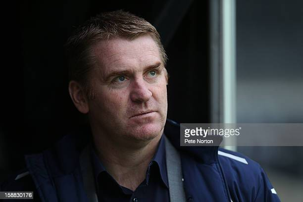 Walsall manager Dean Smith looks on prior to the npower League One match between Milton Keynes Dons and Walsall at Stadium mk on December 26 2012 in...
