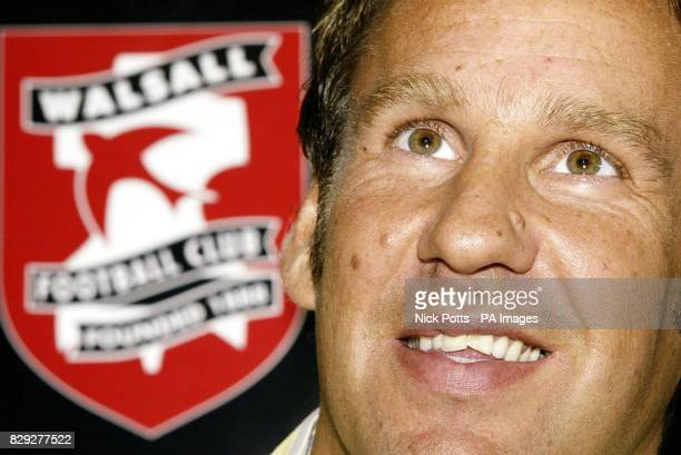 Walsall new signing Paul Merson speaks during a press conference at Bescot Stadium Walsall First Division Walsall completed the signing of former...