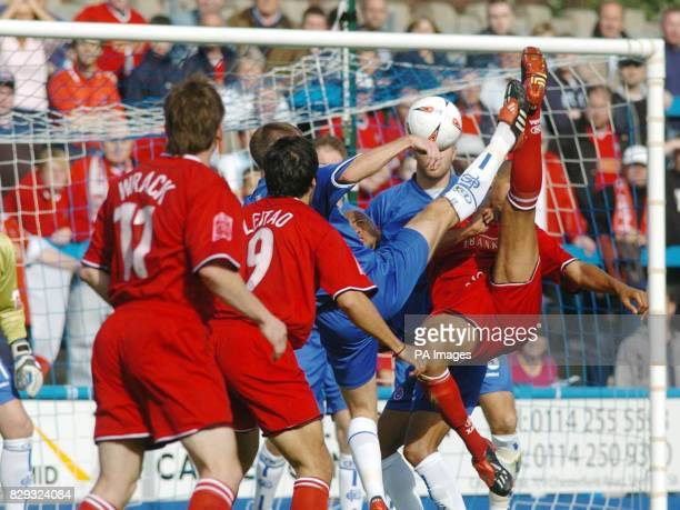 Walsall's Julian Bennett tries an acrobatic attempt on Chesterfield Town's goal during the Coca Cola League One match at Saltergate Chesterfield...