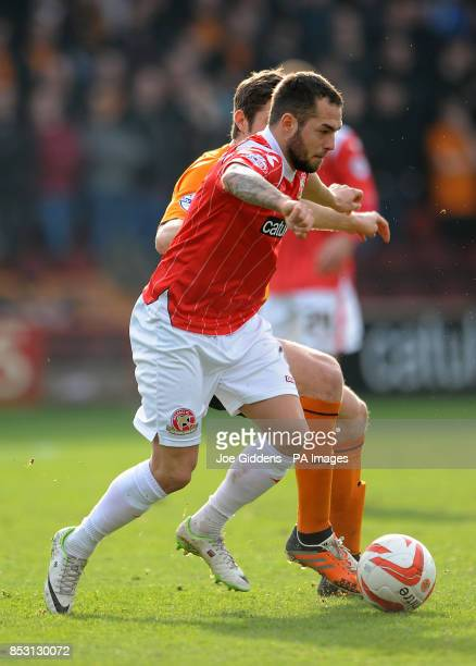 Walsall's Milan Lalkovic and Wolverhampton Wanderers' Sam Ricketts battle for the ball during the Sky Bet League One match at Banks's Stadium Walsall