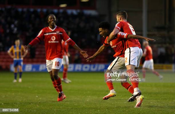 Walsall's Rico Henry celebrates scoring his side's second goal of the game