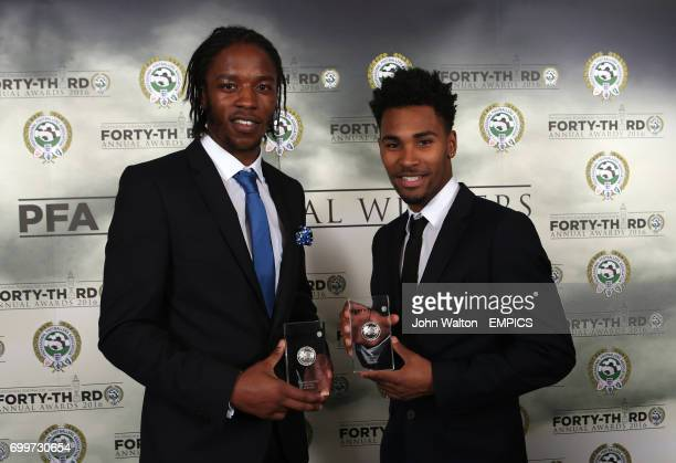 Walsall's Romaine Sawyers and Rico Henry with their PFA League One Divisional Award 2016 during the PFA Awards at the Grosvenor House Hotel London