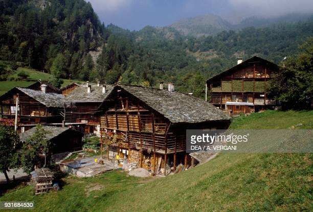 Walser houses in Alagna Valsesia Piedmont Italy