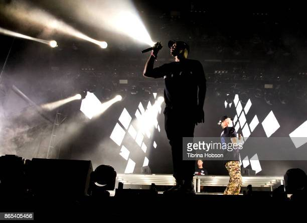 Walshy Fire Jillionaire and Diplo of Major Lazer perform at the Lost Lake Music Festival on October 22 2017 in Phoenix Arizona