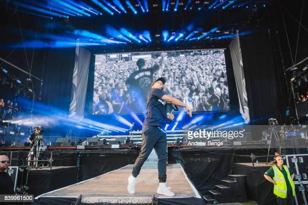 Walshy Fire of Major Lazer performs on the main stage during day 3 at Leeds Festival at Bramhall Park on August 27 2017 in Leeds England