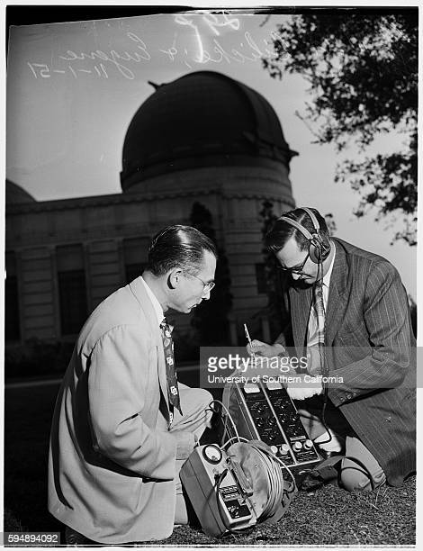 Walt Bilicke and Eugene Spencer checking radioactivity levels at Griffith Observatory
