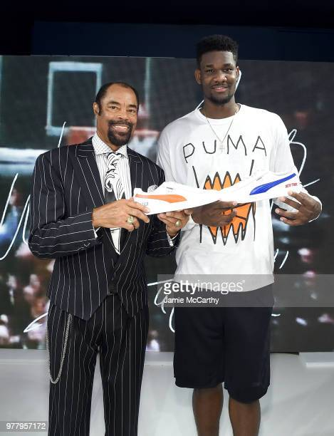 Walt 'Clyde' Frazier and Deandre Ayton attend the PUMA Hoops HQ kickoff where Walt 'Clyde' Frazier signs the first ever life long contract with PUMA...