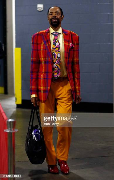 """Walt """"Clyde"""" Frazier, NBA Hall of Gamer and New York Knick television commentator arrives at Toyota Center on February 24, 2020 in Houston, Texas...."""