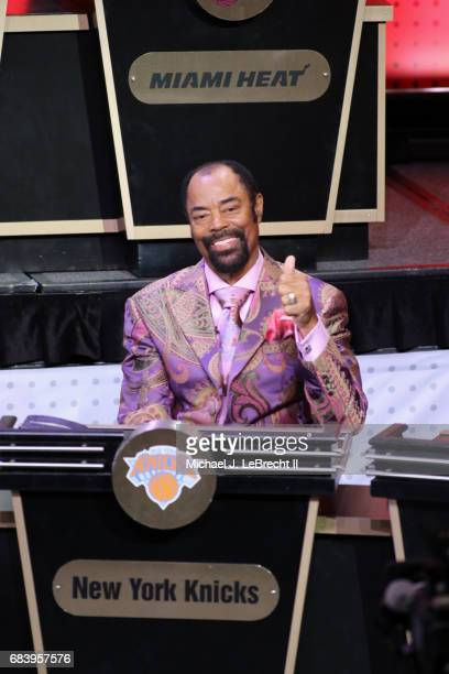 Walt Clyde Frazier of the New York Knicks represents his team during the 2017 NBA Draft Lottery at the New York Hilton in New York New York NOTE TO...