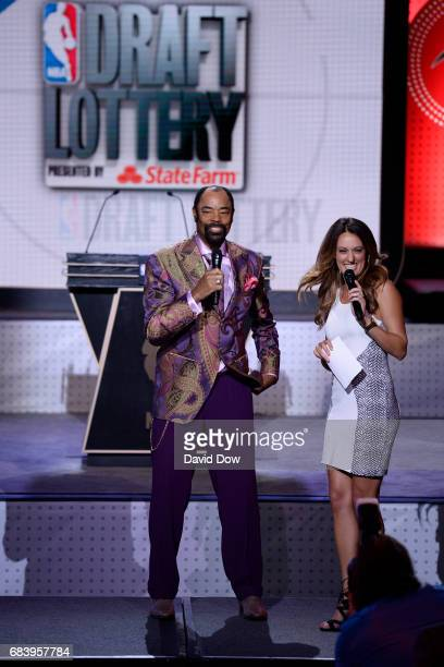 Walt Clyde Frazier of the New York Knicks talks to Alison Williams during the 2017 NBA Draft Lottery at the New York Hilton in New York New York NOTE...