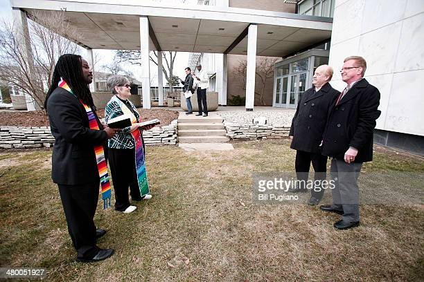 Walt Crisdale and Mark Rabchun of Pleasant Ridge Michigan get married at the Oakland County Courthouseon March 22 2014 in Pontiac Michigan A Federal...