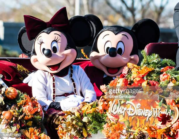 Walt Disney characters Minnie Mouse and Mickey Mouse attend the 99th Annual 6abc Dunkin' Donuts Thanksgiving Day Parade on November 22, 2018 in...