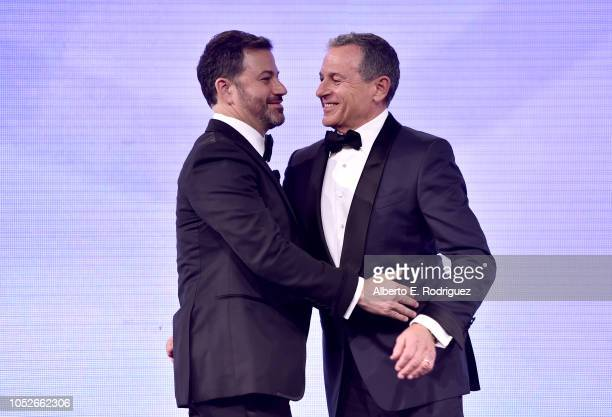 Walt Disney Company Chairman and CEO Bob Iger presents the Courage to Care Award to Jimmy Kimmel onstage at the 2018 Children's Hospital Los Angeles...
