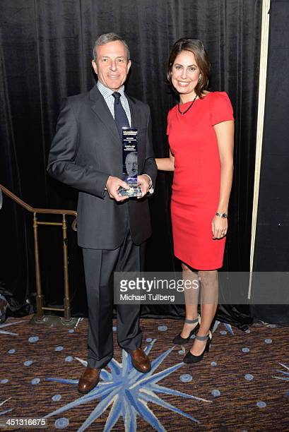 Walt Disney Company Chairman Bob Iger and news correspondent Cecelia Vega attend the 2013 John Wooden Global Leadership Awards hosted by the UCLA...