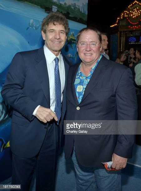 "Walt Disney Studios Chairman Alan Horn and Executive producer John Lasseter arrive at the premiere of Disney Pixar's ""Finding Nemo"" Disney Digital 3D..."