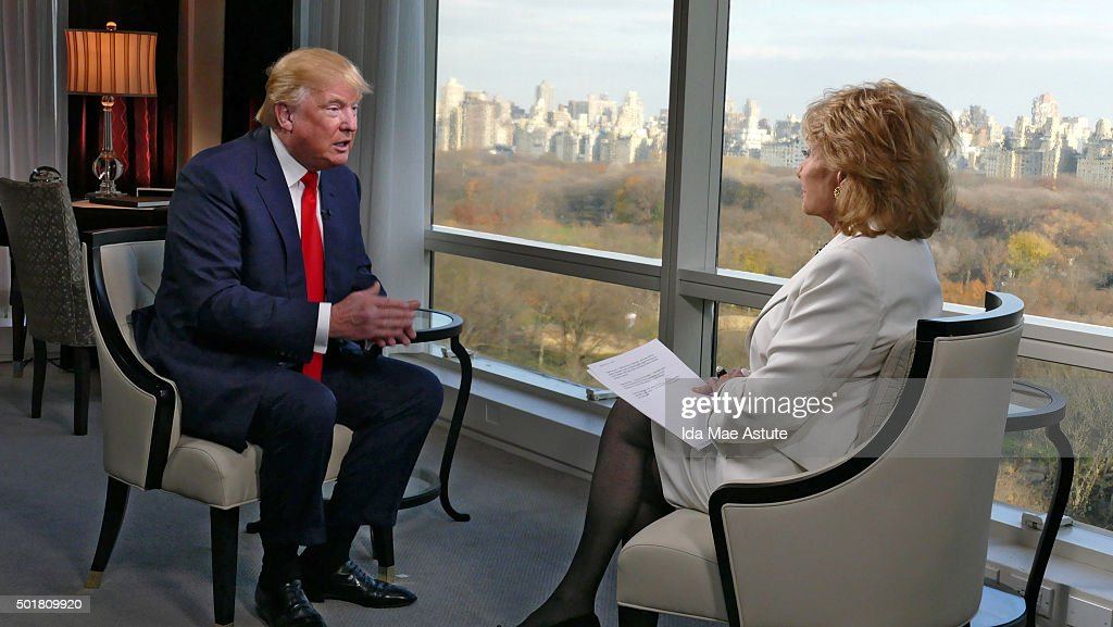ABC NEWS - 12/8/15 - Barbara Walters speaks to Republican Presidential candidate Donald Trump in New York City, for her annual 'Barbara Walters Presents: The 10 Most Fascinating People of 2015,' a 90-minute ABC News special highlighting some of the year's most prominent names in entertainment, politics, sports, and pop culture, airing THURSDAY DEC. 17 (9:30 -11:00pm, ET) on the ABC Television Network. (Photo by Ida Mae Astute/ABC via Getty Images) DONALD