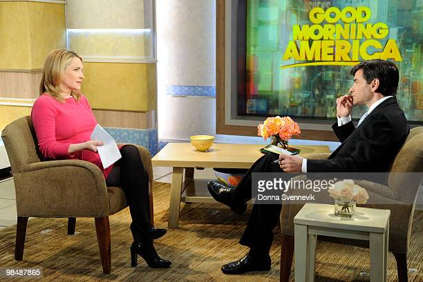 AMERICA Walt Disney Television via Getty Images News' Andrea Canning talks with George Stephanopoulos on GOOD MORNING AMERICA 4/14/10 on the Walt...