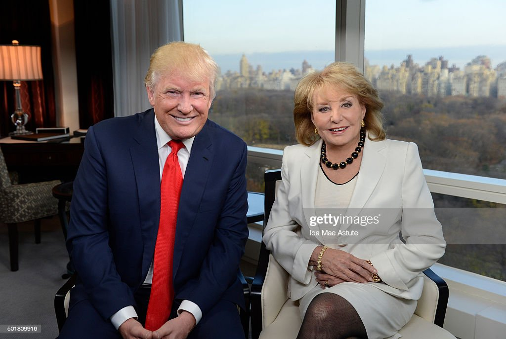 ABC NEWS - Barbara Walters speaks to Republican Presidential candidate Donald Trump in New York City, for her annual 'Barbara Walters Presents: The 10 Most Fascinating People of 2015,' a 90-minute ABC News special highlighting some of the year's most prominent names in entertainment, politics, sports, and pop culture, airing THURSDAY DEC. 17 (9:30 -11:00pm, ET) on the ABC Television Network. (Photo by Ida Mae Astute/ABC via Getty Images) DONALD
