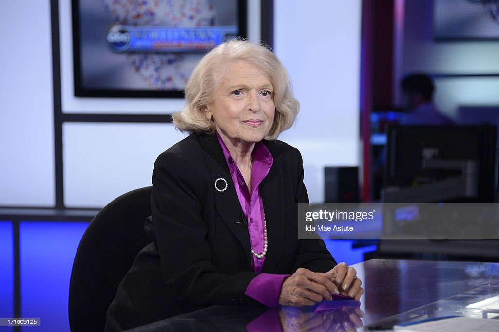 ABC NEWS - Edie Windsor, the 83 year old woman who challenged the Defense of Marriage Act, talks to Diane Sawyer about the Supreme Court decision, 6/26/13, airing on WORLD NEWS WITH DIANE SAWYER as well as all ABC News programs and platforms. WINDSOR