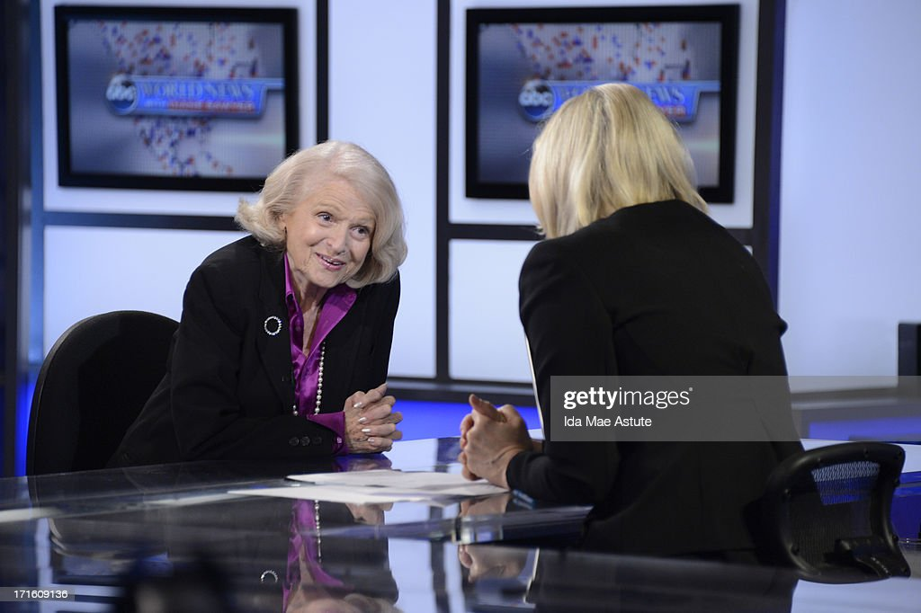 ABC NEWS - Edie Windsor, the 83 year old woman who challenged the Defense of Marriage Act, talks to Diane Sawyer about the Supreme Court decision, 6/26/13, airing on WORLD NEWS WITH DIANE SAWYER as well as all ABC News programs and platforms. SAWYER