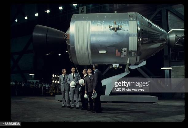 FLIGHTS ApolloSoyuz Test Project Press Conference with US Astronauts and Soviet Cosmonauts with Apollo Spacecraft Shoot Date February 19 1975 VANCE...