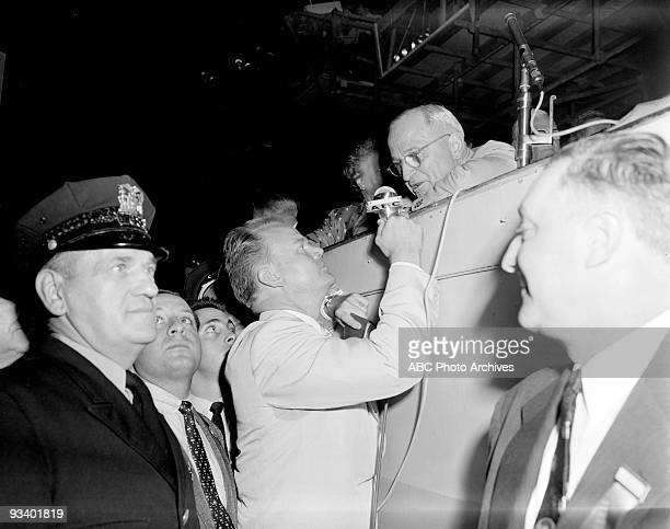CONVENTION 8/13/56 Paul Harvey spoke to Harry S Truman who would address the convention on the convention floor during the 1956 Democratic Convention...