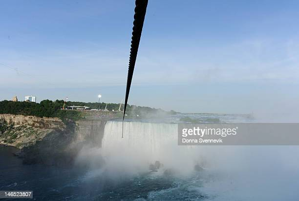 Walt Disney Television via Getty Images SPECIAL NIAGARA FALLS CANADA 6/15/12 A high wires is stretched across the gorgee for Daredevil Nik Wallenda's...