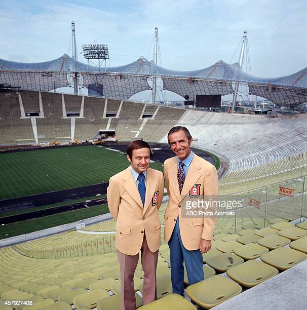 Summer Olympics 8/269/11/72 ABC sportscasters Jim McKay and Chris Schenkel in Munich Olympic Stadium before the Games of the XX Olympiad The 1972...