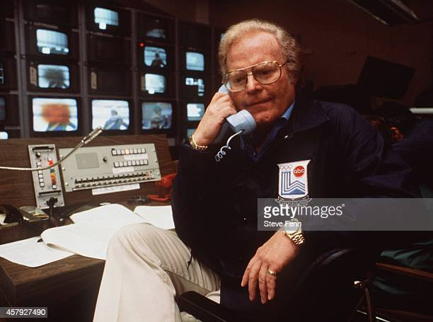 Winter Olympics 2/1423/80 Roone Arledge in the control room at the XIII Olympic Winter Games in Lake Placid NY