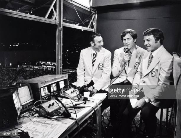 Walt Disney Television via Getty Images sportscasters Howard Cosell, Don Meredith and Frank Gifford at the N.Y. Giants vs. Dallas Cowboys game, won...