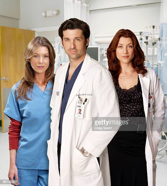 "Walt Disney Television via Getty Images Television Network's ""Grey's Anatomy"" stars Ellen Pompeo as Meredith Grey, Patrick Dempsey as Derek Shepherd..."